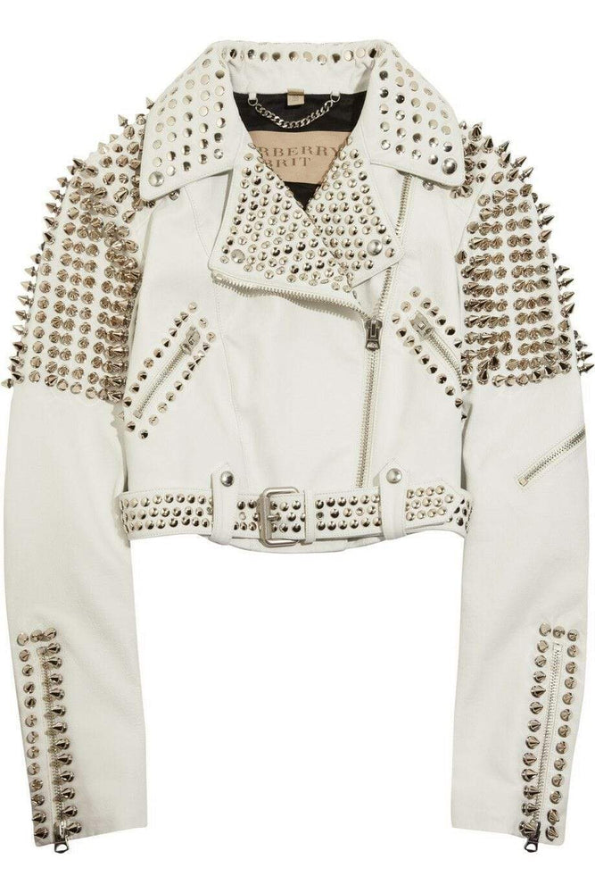 Stylish Woman White Punk Full Silver Studded Brando Cowhide Leather Jacket