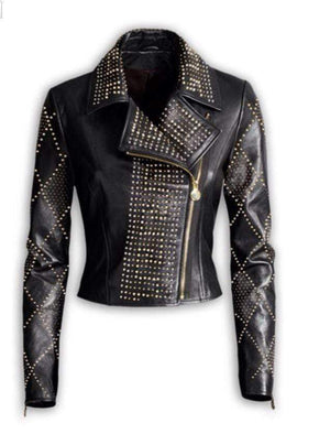 BESPOKESTORES Leather Jacket Versace Woman Silver Golden Studded Brando Style Leather Jacket