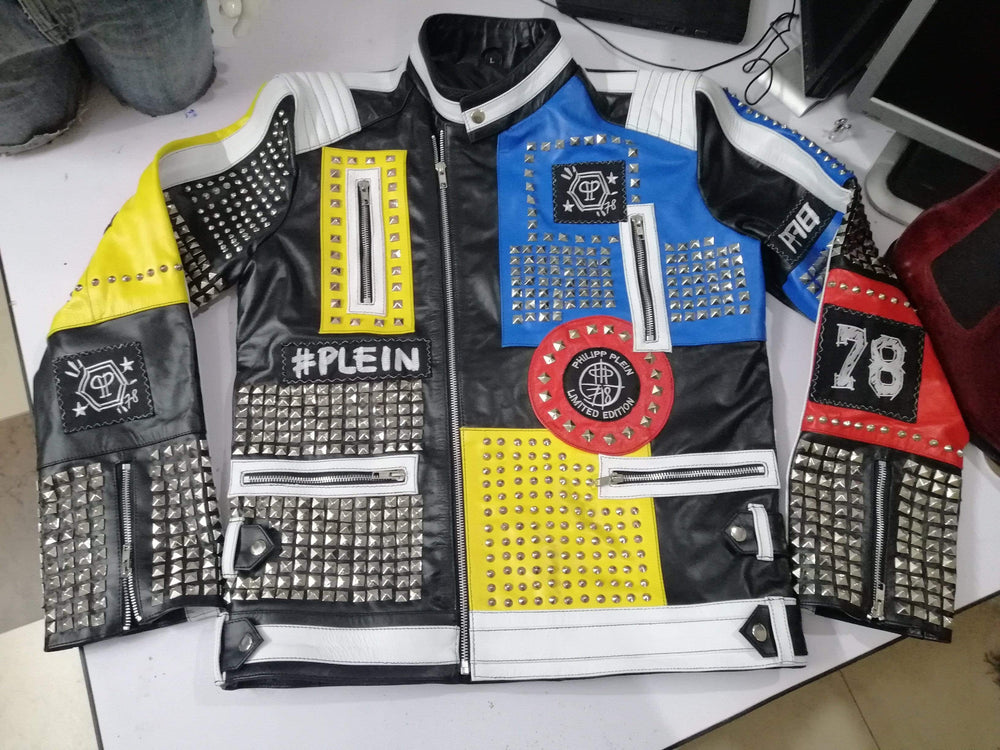 BESPOKESTORES Leather Jacket Western Classic Men's Philip Plein Multi color Full Studded Leather Jacket