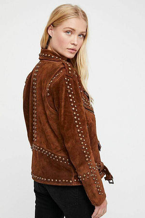 BESPOKESTORES Leather Jacket Woman Handmade Brown American Western Wear Golden Studded Suede Leather Jacket