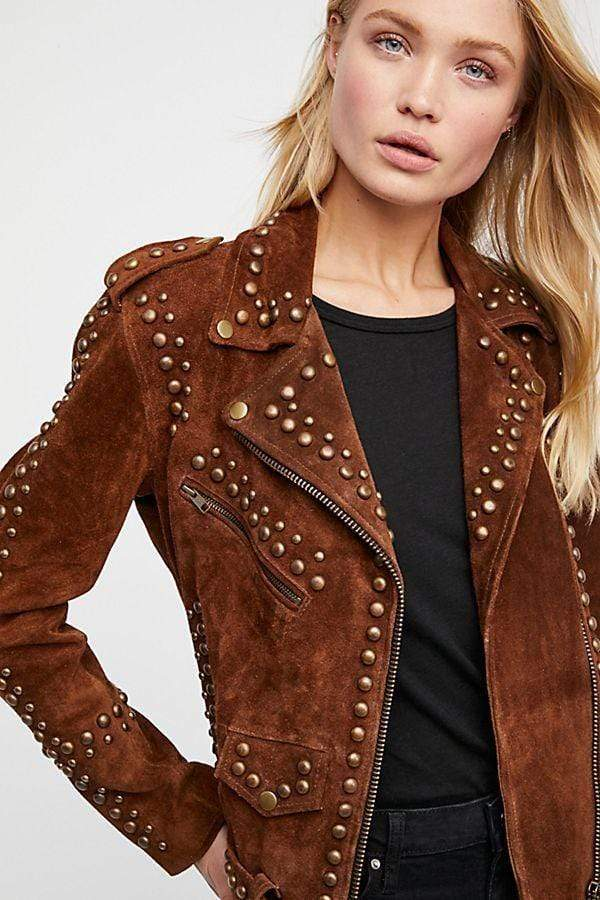 Woman Handmade Brown American Western Wear Golden Studded Suede Leather Jacket