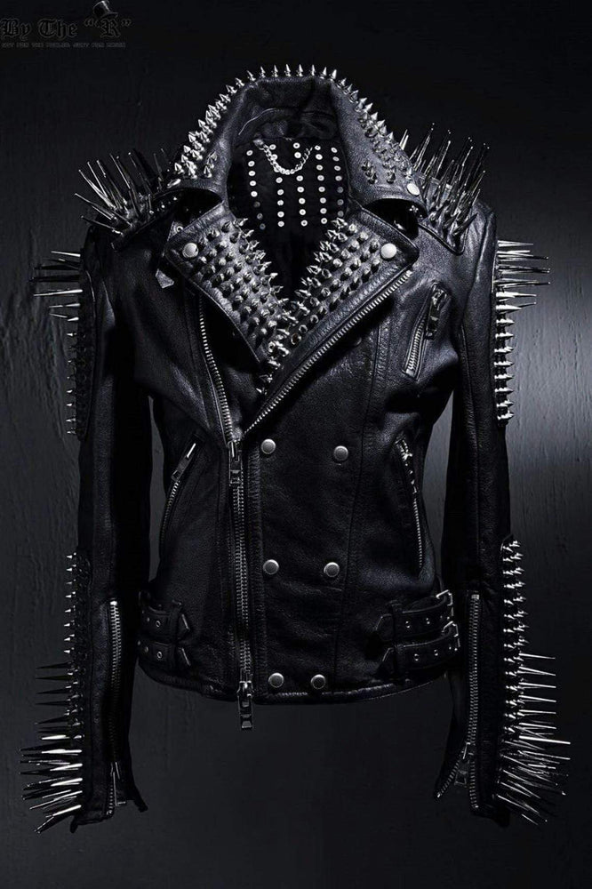 Women Handmade Black Punk Silver Long Spiked Studded Leather Buttons Up