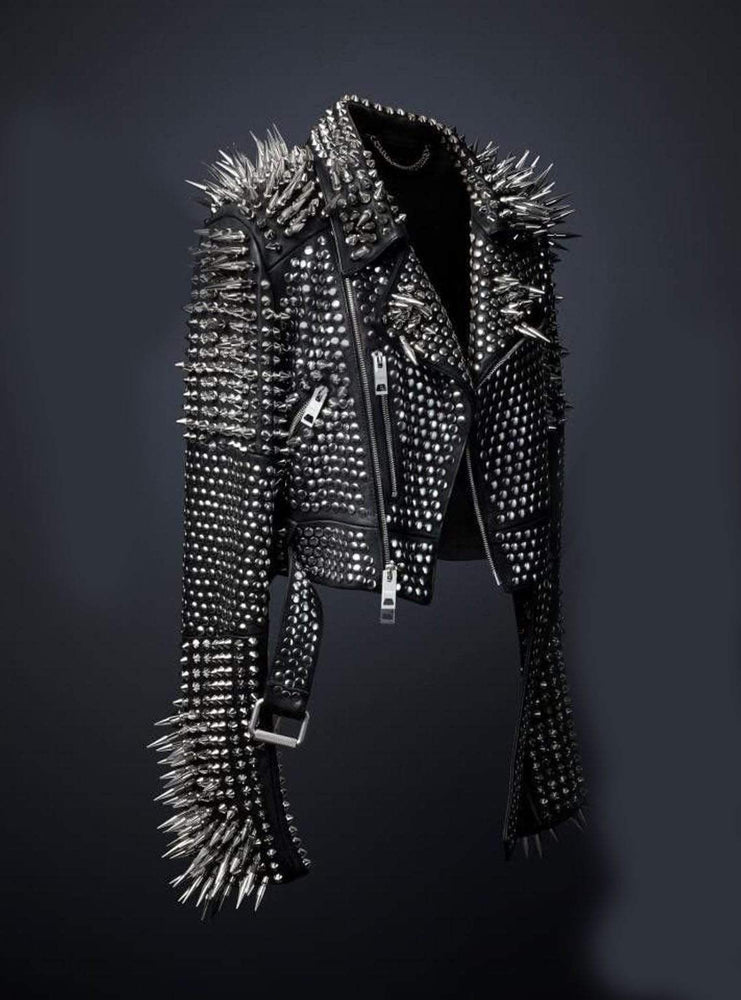 Women Leather Studded Jacket Top Quality Cowhide Leather Silver Studded With Long Spikes