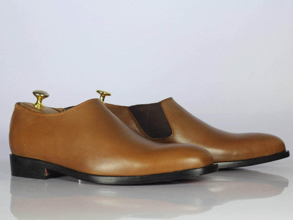 BESPOKESTORES Slipper shoes Bespoke Brown Half Chelsea Leather Shoes for Men's