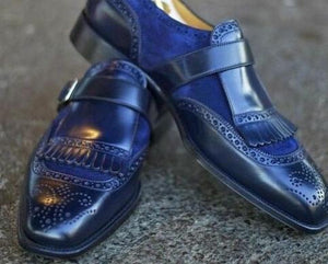 BESPOKESTORES Slipper shoes Classy Royal blue Suede & Patent Leather Fringe Style Square Toe Men's Loafers