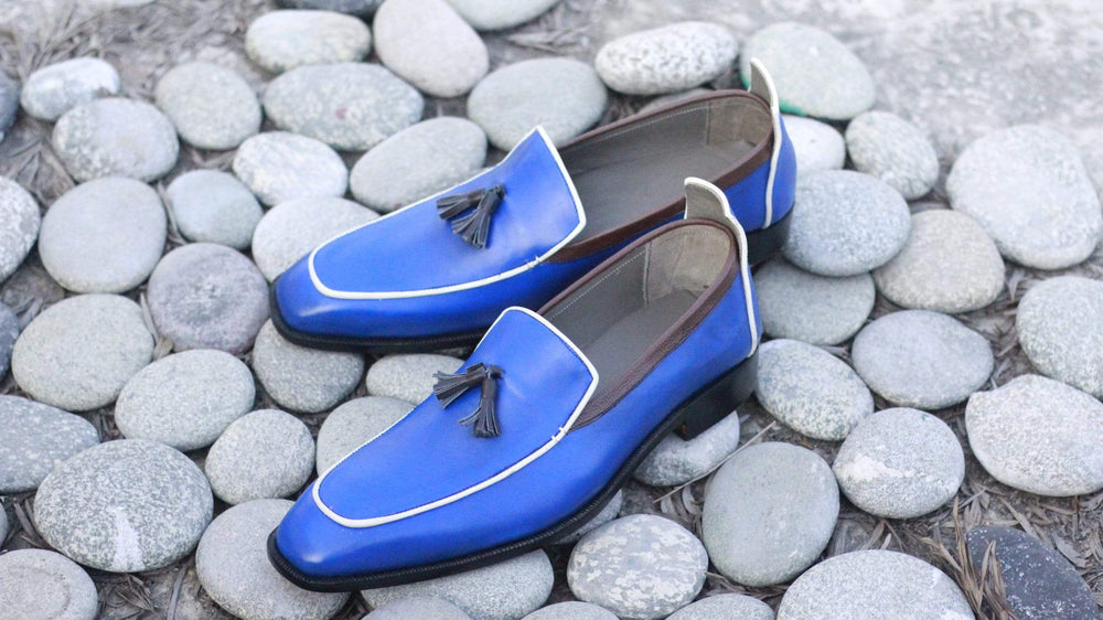 BESPOKESTORES Slipper shoes Classy Royal Blue Tasseled Slip On Leather Men's Foot Wear Loafers