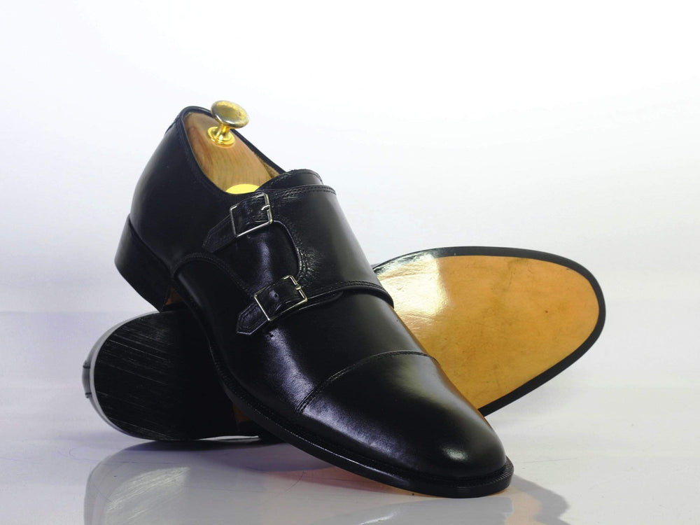 Bespoke Black Double Monk Cap Toe Leather Shoes for Men's