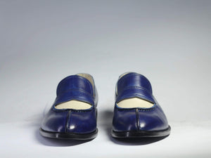 BESPOKESTORES Slipper shoes Copy of Bespoke Blue Tussle Leather Loafers for Men's