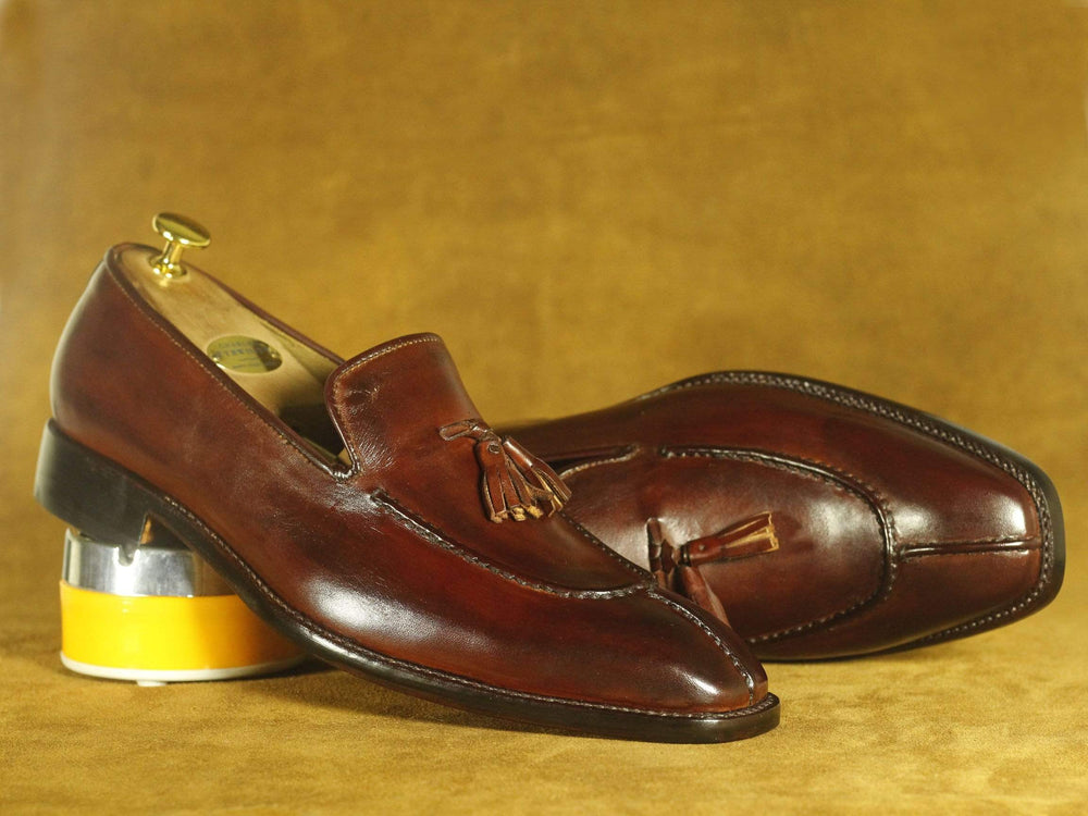 BESPOKESTORES Slipper shoes Handmade Brown Split Toe Leather Tussle Loafers, Men's Oxford Loafers