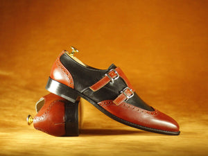BESPOKESTORES Slipper shoes Two Tone Stylish Burgundy & Black Wing Tip Double Monk Leather Shoes