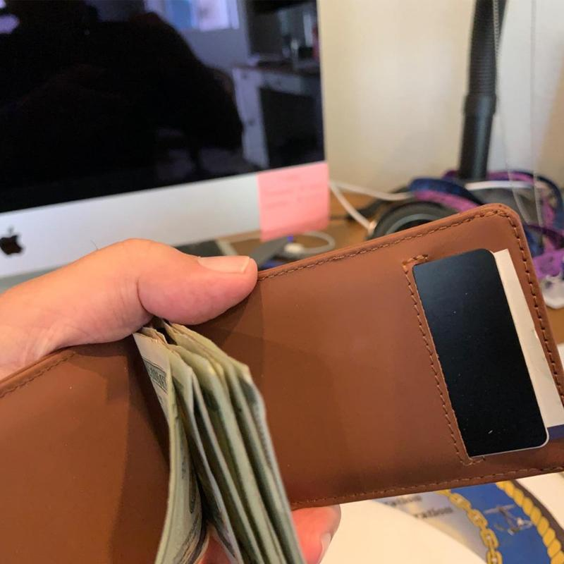 Handmade slim Leather Pull-Out Wallet