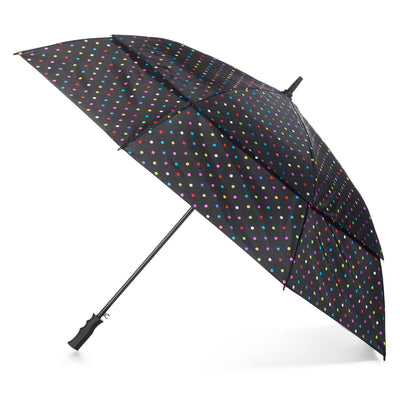totes Automatic Neverwet® Golf Stick Umbrella black bright dots  side view open