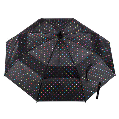 totes Automatic Neverwet® Golf Stick Umbrella black bright dots  open top canopy view