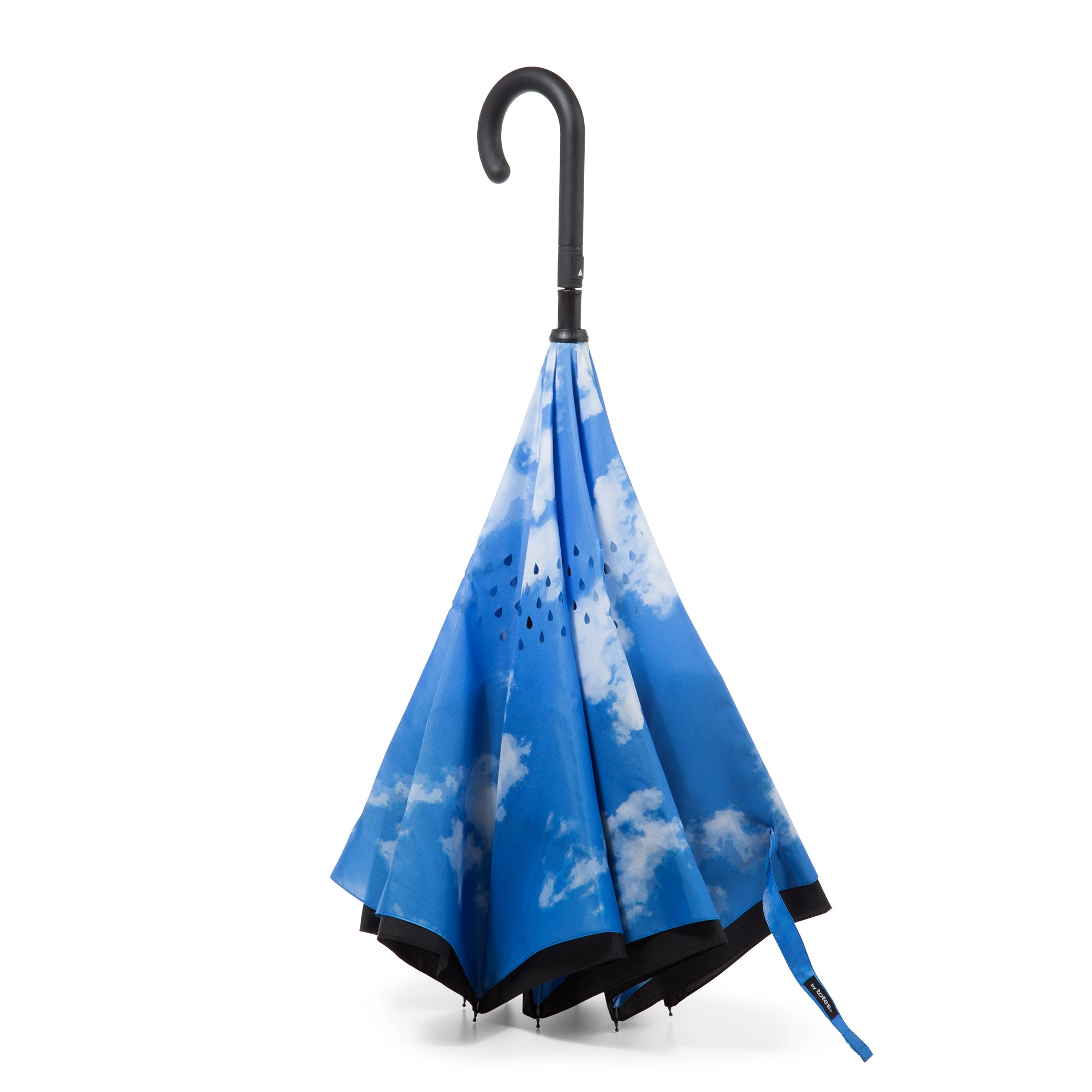 totes InBrella Reverse Close NeverWet Umbrella clouds standing up