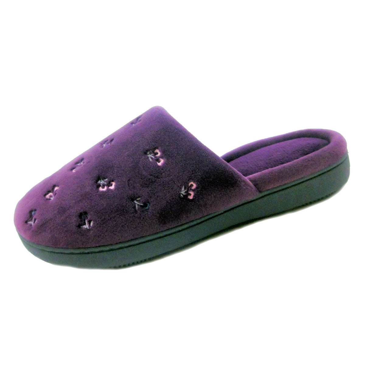 Isotoner Women's Velour Clog Slippers With Embroidery