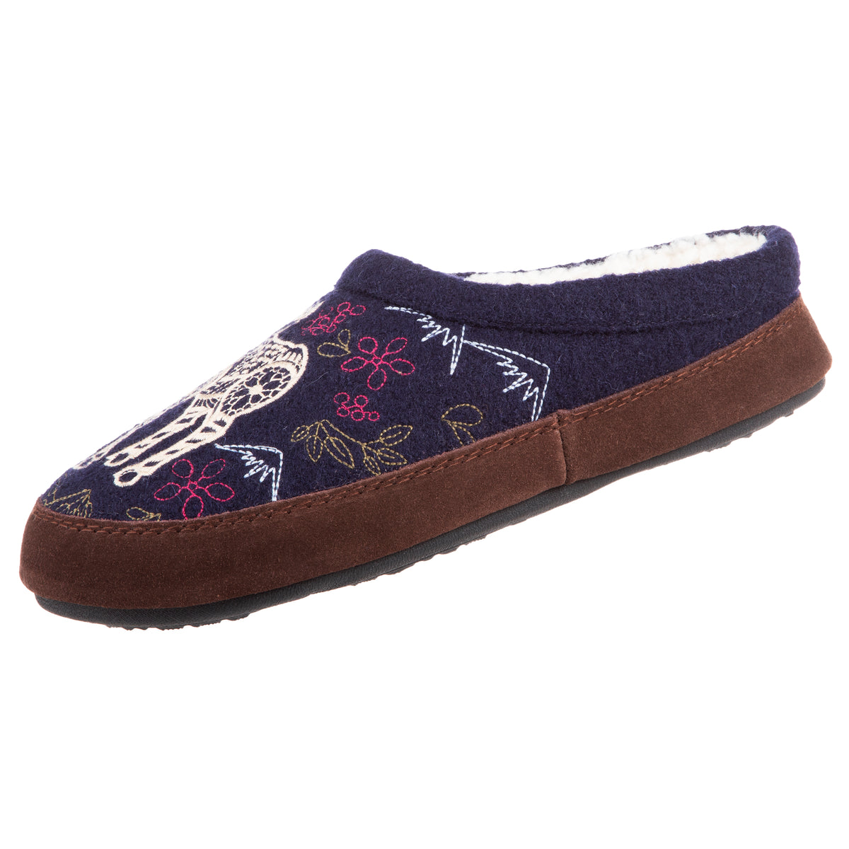 Women's Forest Mule Slippers in Navy Moose Right Angled View