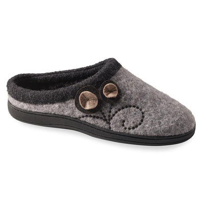 Women's Dara Boiled Wool Slippers in Light Grey Button Right Angled View