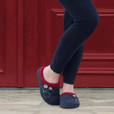 Women's Dara Boiled Wool Slippers in Charcoal Button on Model in Front of a Red Door