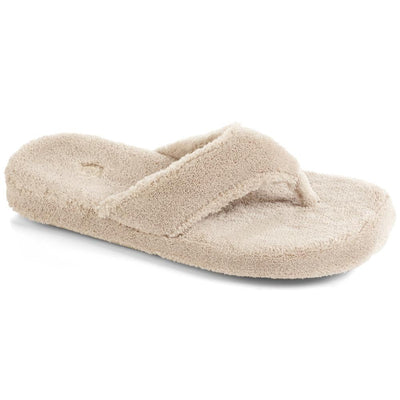 Women's Spa Thong Slippers in Taupe Right Angled View