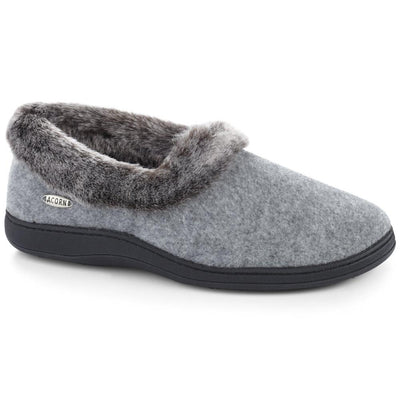 Women's Faux Fur Collar Slippers in Stone Right Angle View