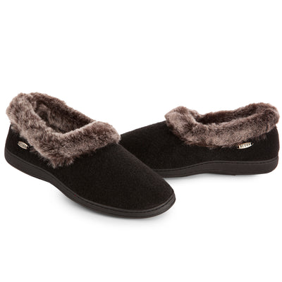 Women's Faux Fur Collar Slippers in Black both slippers