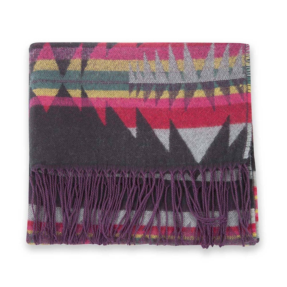 Women's Pistil Carmel Scarf with colorful stripes and southwest inspired shapes with long purple fringe in Black