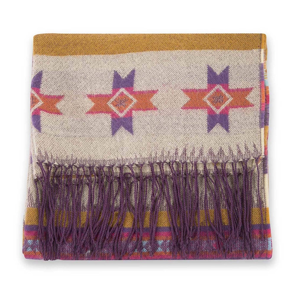 Women's Pistil Carmel Scarf with colorful stripes and southwest inspired shapes with long purple fringe in Bone
