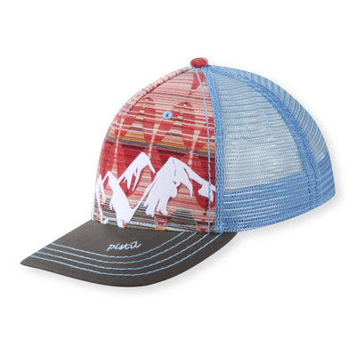 Women's Pistil McKinley Trucker Hat displaying a colorful Mountain with mesh back and adjustable closure in Hibiscus