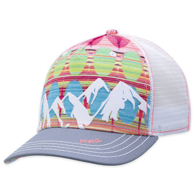 Women's Pistil McKinley Trucker Hat displaying a colorful Mountain with mesh back and adjustable closure in Persimmon