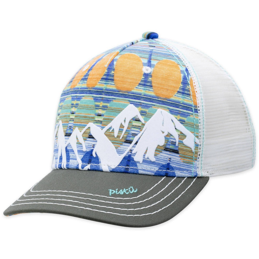 Women's Pistil McKinley Trucker Hat displaying a colorful Mountain with mesh back and adjustable closure in Sapphire