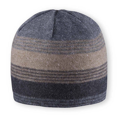 Men's Pistil Chase Fine Gauge Knit Beanie with colorblocked stripes in black and grey