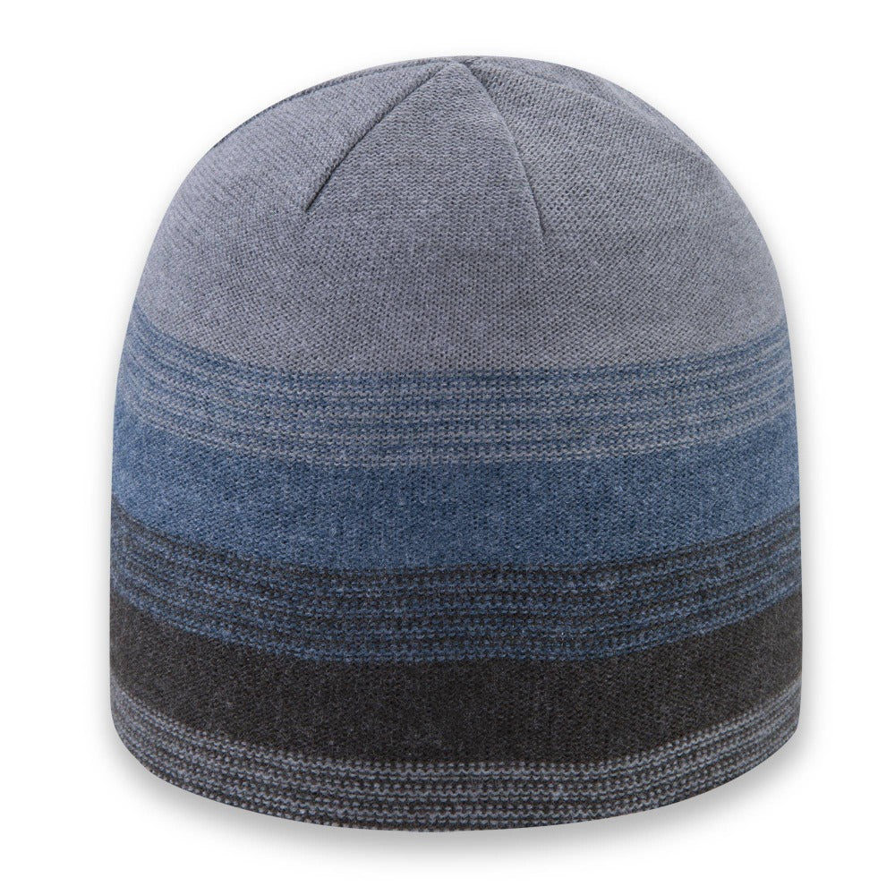 Men's Pistil Chase Fine Gauge Knit Beanie with colorblocked stripes in blue black and grey