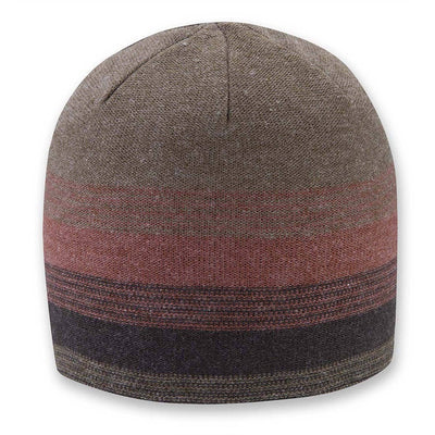 Men's Pistil Chase Fine Gauge Knit Beanie with colorblocked stripes in red and brown