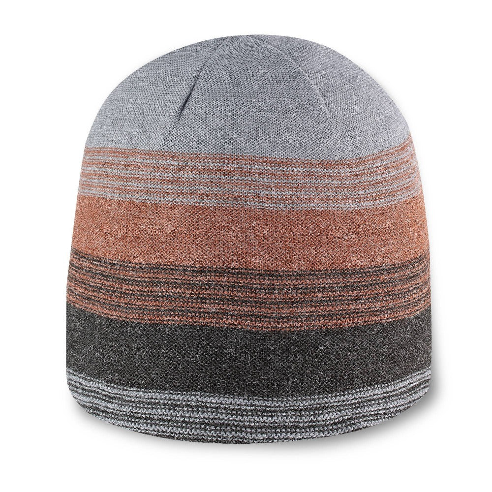 Men's Pistil Chase Fine Gauge Knit Beanie with colorblocked stripes in orange black and grey