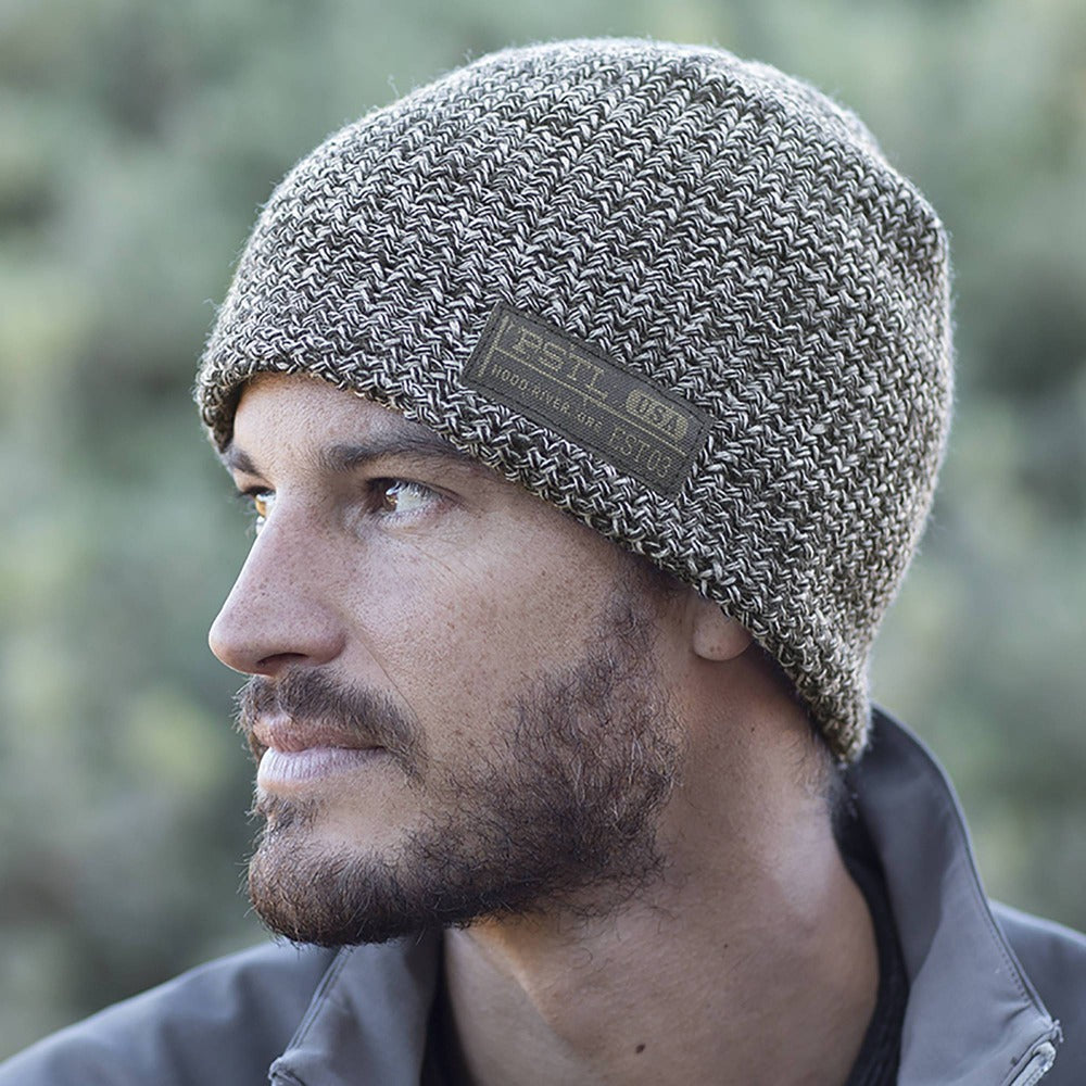 Gentleman Wearing Pistil Franco Chunky Knit Beanie in Grey