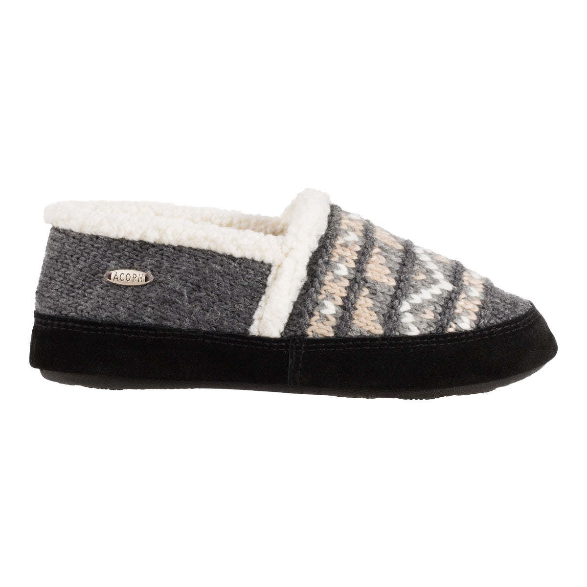 Acorn Nordic Moccasin Slipper Grey Side View
