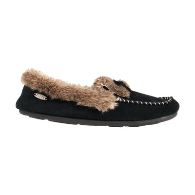 Acorn Womens Faux Fur Moccasin Slippers in Black Side Profile View