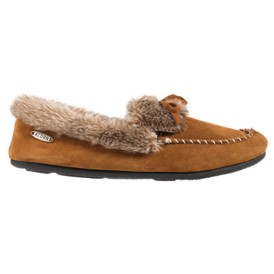 Acorn Womens Faux Fur Moccasin Cognac Side View