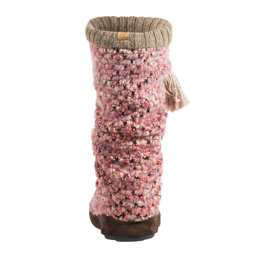 Acorn Jam Tassel Boot in Raspberry Back Heel