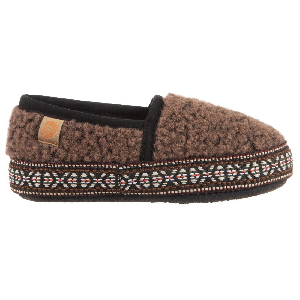 Acorn Kid's L'il Woven Trim Moccasins in Walnut Profile
