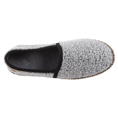 Women's Woven Trim Moccasins in Stormy Grey Inside Top View