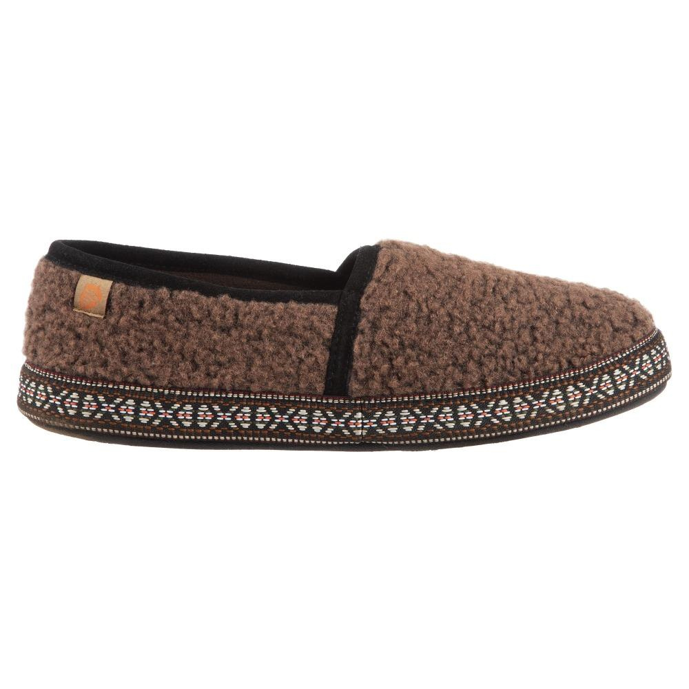 Acorn Men's Woven Trim Moccasin Slipper in Walnut Profile View