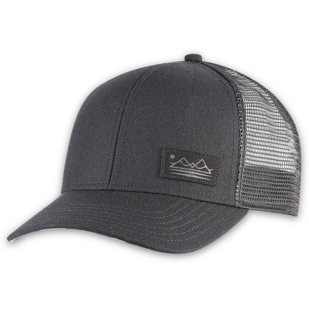 Men's Pistil Dean Trucker Cap with mountain patch mesh back and adjustable closure in Black