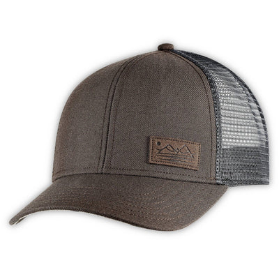 Men's Pistil Dean Trucker Cap with mountain patch mesh back and adjustable closure in Brown