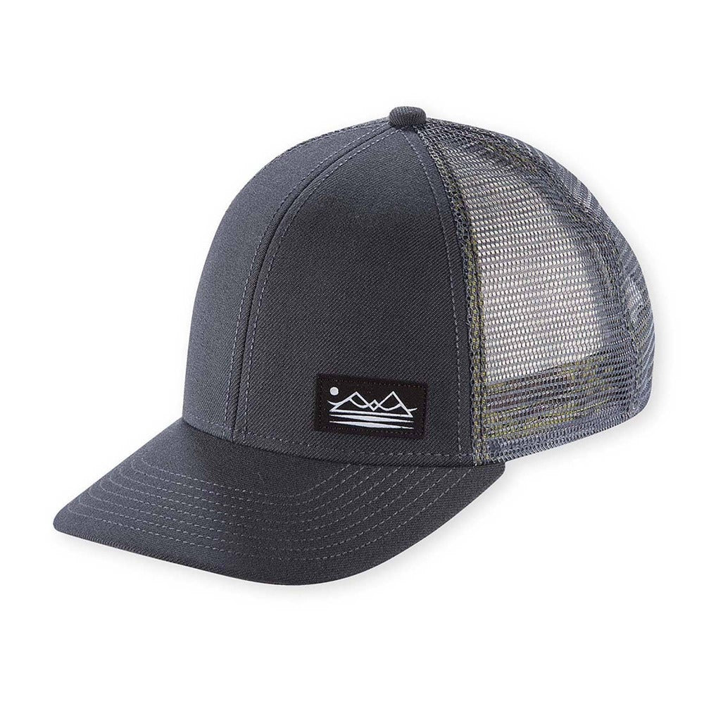 Men's Pistil Dean Trucker Cap with mountain patch mesh back and adjustable closure in Grey