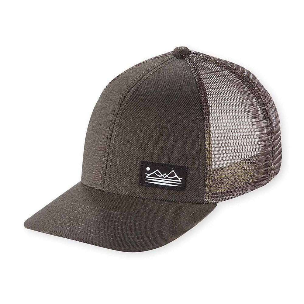 Men's Pistil Dean Trucker Cap with mountain patch mesh back and adjustable closure in Olive