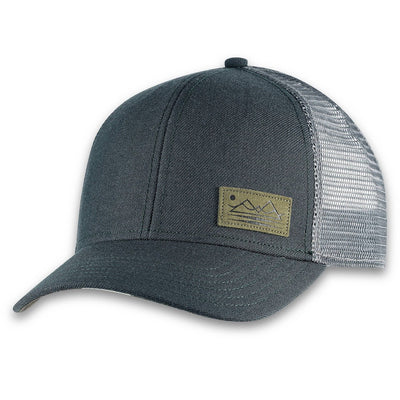 Men's Pistil Dean Trucker Cap with mountain patch mesh back and adjustable closure in Spruce