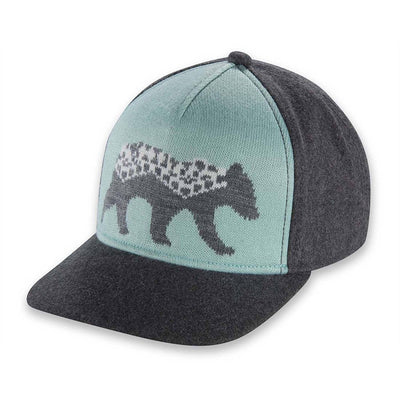 Women's Pistil Ursa Cap with jacquard knit bear graphic front panel in Aqua