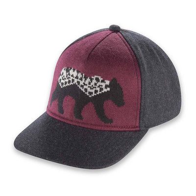 Women's Pistil Ursa Cap with jacquard knit bear graphic front panel in plum