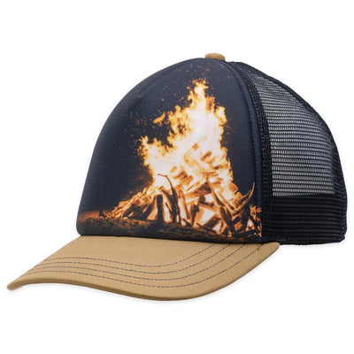 Men's Pistil Dusk Trucker Hat with bonfire graphic on the front with Tan bill and mesh on back along with adjustable closure